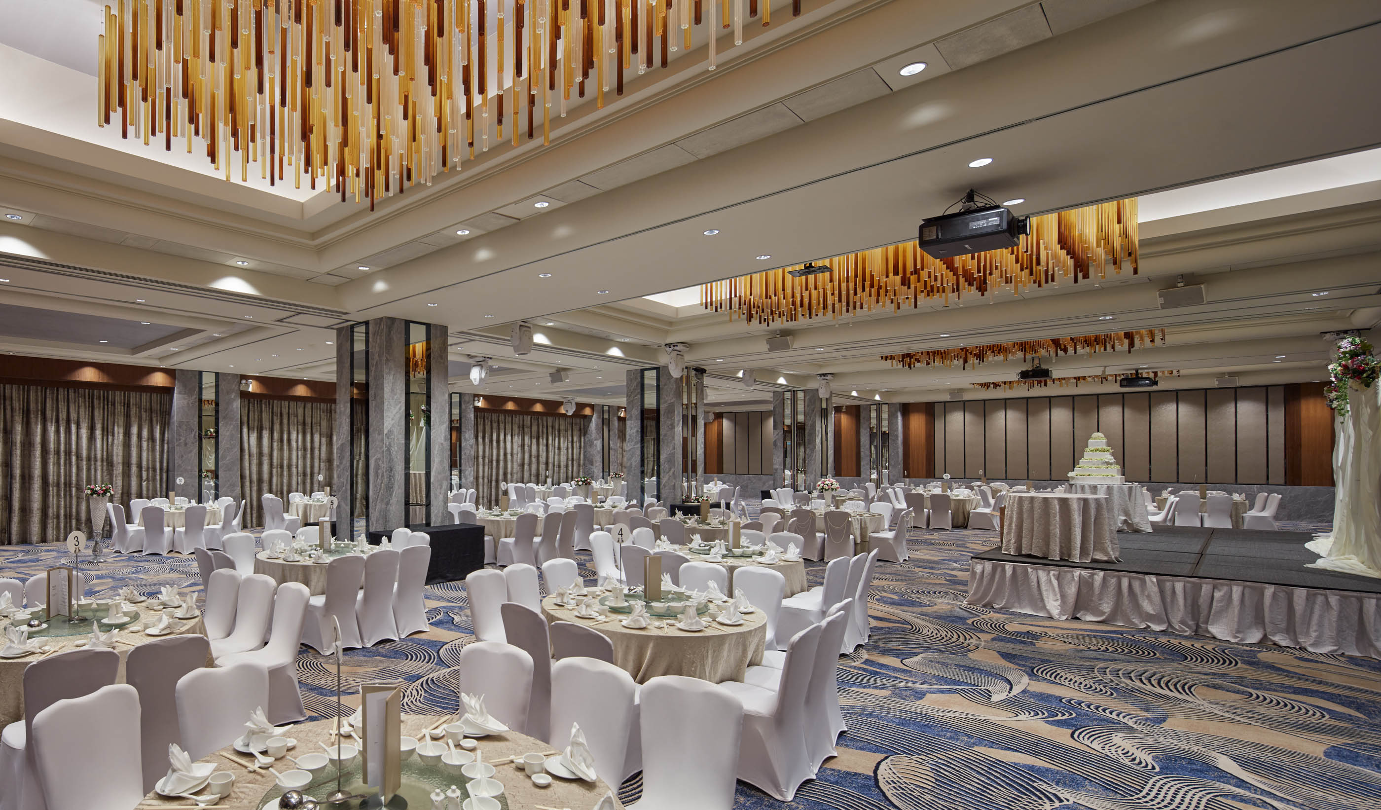 Hilton singapore unveils two refurbished spaces ttgmice sporting dark timber walls the ballrooms four chandeliers were made from hand blown arubaitofo Choice Image